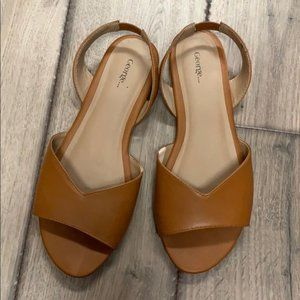 Cool retro style brown sling sandals